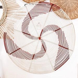 White & Red Metal Wall Hanging Circle Basket Decor